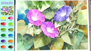 Flower Watercolor - morning glory (sketch & color mixing process) NAMIL ART