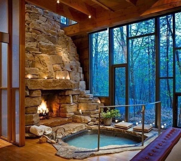 Релаксируем в горячей ванной у камина ????????