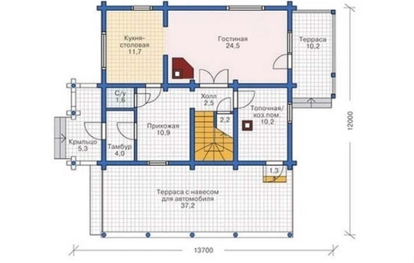 Проект дома из оцилиндрованного бревна - площадь 153...