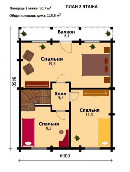 Полутораэтажный дом, брус. Площадь – 130 кв.м.