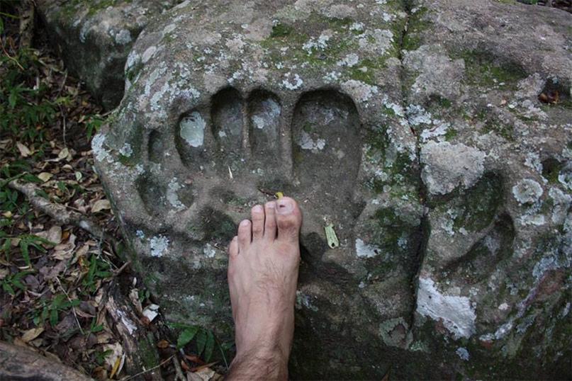 Окаменeвший след великана, найденный в Парагвае.
