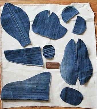 Мишки из джинсовой ткани