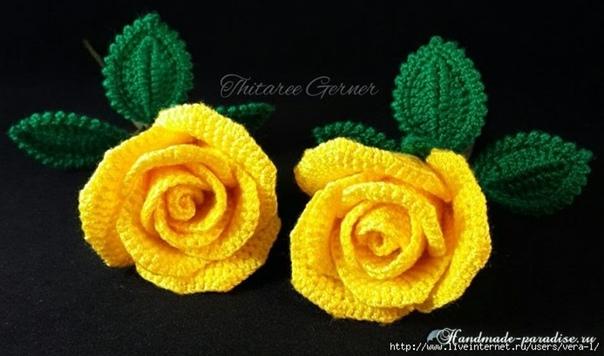 Желтые розы крючком. Мастер-класс