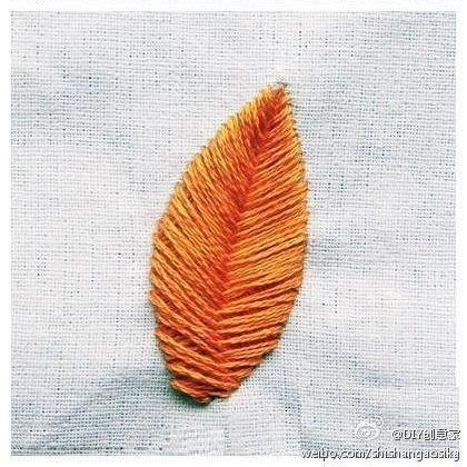 Вышиваем листик гладью