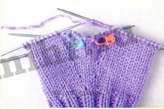"""Вывязывание большого пальца """"клином"""". Вязание спицами для начинающих...."""