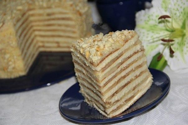 Торт со сгущенкой и орехами на сковороде