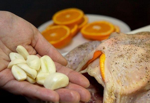 Курица, запеченная с апельсинами.