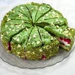 (14 порций)Торт Фисташковый с малиной (2520 гр.)