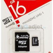 Карта памяти SmartBuy microSDHC Class 10 16GB + адаптер