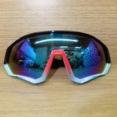 Очки ELAX широкие с вентиляцией. Черно-красно-голуб-белые, зеркальная линза