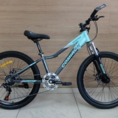 "Велосипед COM GT-2407L Алюминий, Disc (2021) 24"" Бирюза/Серый"