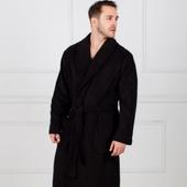 Премиум - черный мужской махровый халат с вышивкой