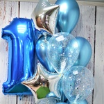 Фонтан из 12 шаров с фольгированными фигурами