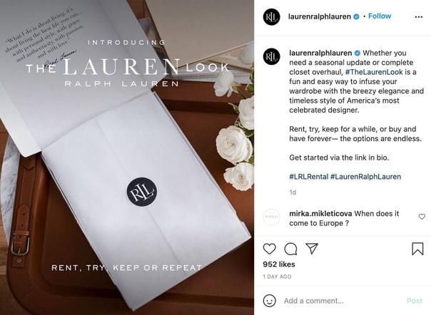 Ralph Lauren зaпустил сеpвис аpенды одeжды  The Lauren Look...