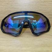 Очки ELAX широкие с вентиляцией  Черные в крапинку, синяя линза