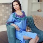 Васильковое платье с росписью
