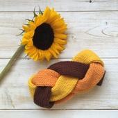 Повязка-коса (цвета желтый, оранжевый и коричневый), размер 55-58
