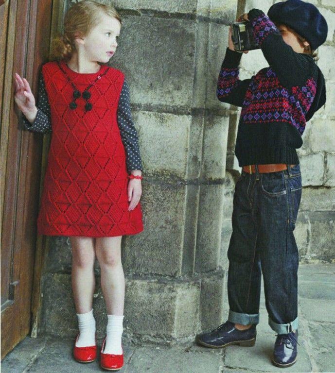 Красное детское платье без рукавов. Описание работы