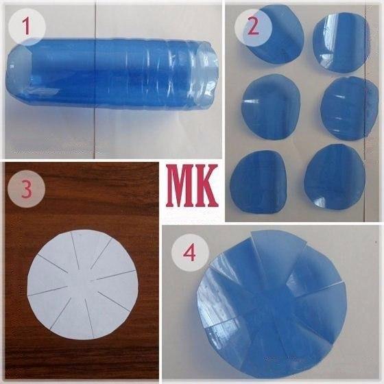Васильки из пластиковых бутылок