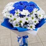 13 белых и синих хризантем