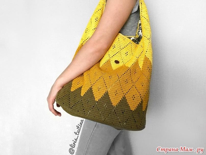 Вязаная сумка-мешок с ажурными ромбами!